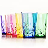 19 oz Premium Drinking Glasses - Set of 6 - Unbreakable Tritan Plastic - BPA Free - 100% Made in Japan (Assorted Colors)