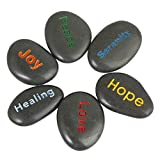 mookaitedecor Engraved Inspirational Stones Set of 6 Different Words,1-1.7 Inch