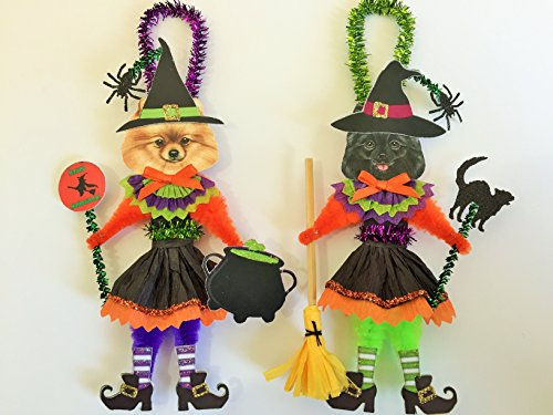 Pomeranian HALLOWEEN WITCH ORNAMENTS Vintage Style Dog Chenille Ornaments Set of 2 -