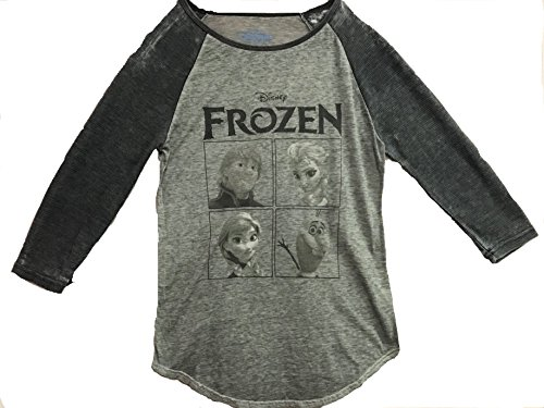 FREEZE JRS Disney Frozen Burnout Thermal Juniors Grey Longsleeve (Small)