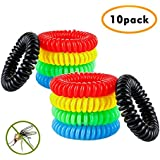 Pack of 10 All Natural Mosquito Insect Repellent Bracelet for Kids, Toddler & Adults - Non Toxic Travel Size Mosquito Bug Repellent Wristband ¡