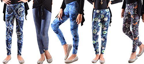 Price comparison product image 5 Pack Deal on These Great Girls Fun Printed Leggings 728-720-729-727-725-S