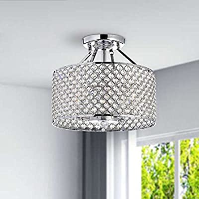 The Lighting Store 60 W Chrome Finish Crystal 4-light Round Ceiling Chandelier