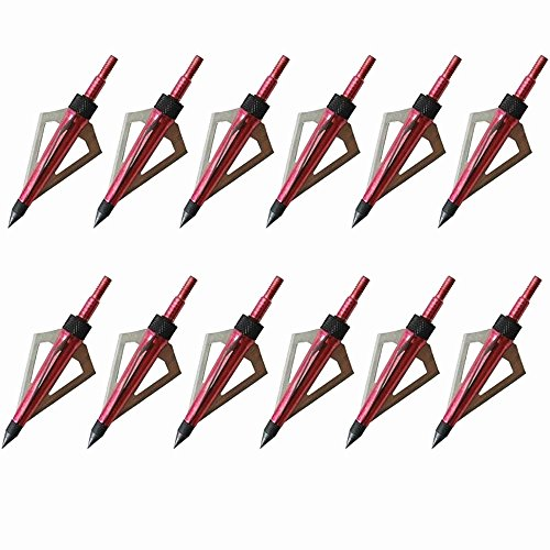 Archery 12 Pack 3 Razor Sharp Fixed Blades 125 Grain Broadheads Hunting Arrow tips For Crossbow And Compound Bow (Arrow Bow Replica)
