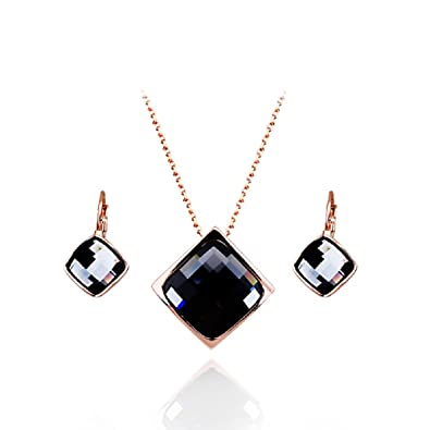 """e0a2964598e Image Unavailable. Image not available for. Color: Crystals from Swarovski  Grey Silver Night Set Necklace 18"""" Dangle Lever Back Earrings 18 ct"""