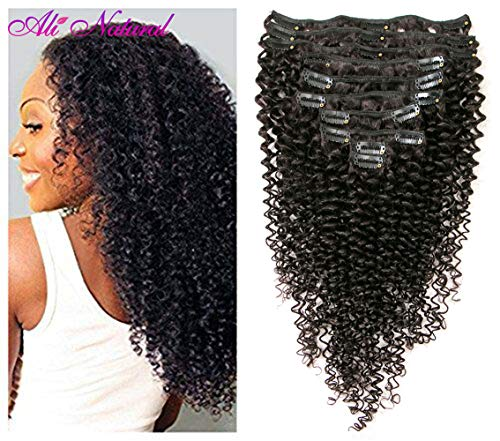 Kinky Curly Clip in Hair Extensions 10Pcs/Set with 21 clips Brazilian Virgin Hair Curly Human Hair Clip in Extensions for Black Woman natural color 120 Gram (18) (Best Clip In Hair Extensions For Curly Hair)