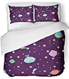 Emvency 3 Piece Duvet Cover Set Breathable Brushed Microfiber Fabric Cartoon Space with Planet and Stars Outer Diploma Kids Books Galaxy and Cosmos Bedding Set with 2 Pillow Covers Twin Size