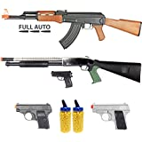 BBTac Airsoft Gun Package - Milita Collection of 5 Guns - Full Auto AK AEG Electric Rifle, Shotgun, Dual Mini Pistols, 4000 BB Pellets, Great Starter Pack Game Play