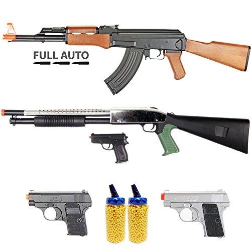 BBTac Airsoft Gun Package - Milita Collection of 5 Guns - Full Auto AK AEG Electric Rifle, Shotgun, Dual Mini Pistols, 4000 BB Pellets, Great Starter Pack Game Play by BBTac