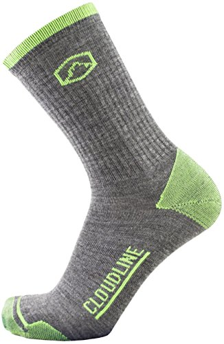 CloudLine Merino Wool Hiking & Athletic Crew Socks - Ultra Light Weight - Small PNW Green - Made in the USA ()