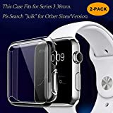 Julk Series 3 38mm Case for Apple Watch Screen Protector, iWatch Overall Protective Case TPU HD Clear Ultra-Thin Cover for Apple Watch Series 3 (38mm)(2-Pack)