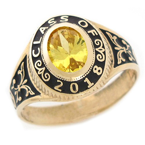Class 10k Ring (10k Gold Simulated November Birthstone 2018 Class Graduation Ring)