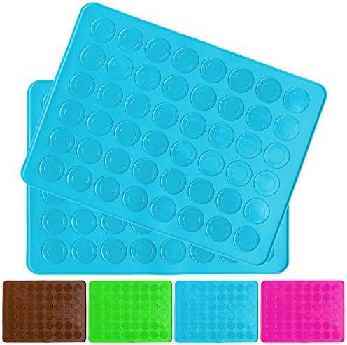 Belmalia 2X Macarons Backmatte aus Silikon für perfekte Makronen   Antihaft Silikonform mit Teigschaber   Blau