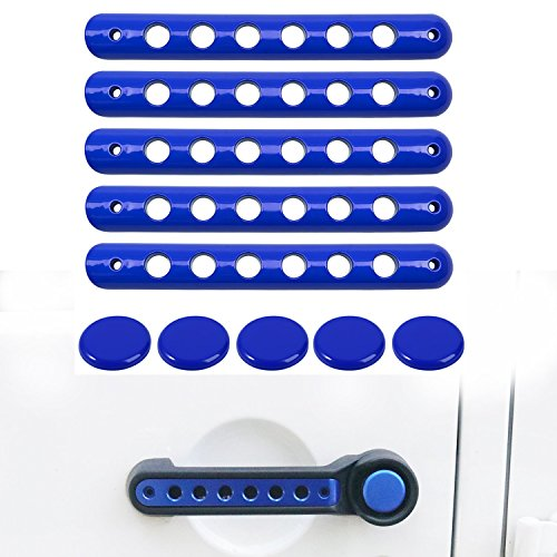 Grab Handle Inserts Cover+Push Button Knobs Cover Trim for 2007-2018 Jeep Wrangler JK & Unlimited 5PCS BLUE