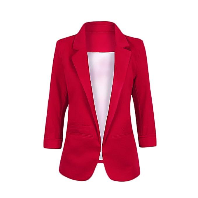 Blazer Mujer Talla Grande Negocios Office Wear Blazers 3/4 Mangas De Solapa De Bolsillos