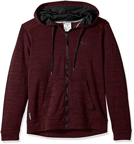 Champion Men's Premium Performance Fleece Full Zip Hoodie, Bordeaux Red Heather/Black, - Bordeaux Black