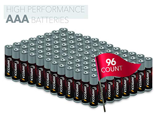 Impecca AAA Alkaline Batteries, High Performance AAA Battery, 10 Year Long Lasting Shelf Life, 96 Pack, LR3, Platinum
