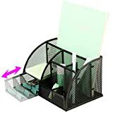 Xinyaoshi Desk Organizer, Steel Mesh, 1 Slide Drawer, 6 Divided Compartment, School, Office Supplies (Black)