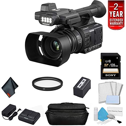 - Panasonic AG-AC30 Full HD Camcorder with Touch Panel LCD Viewscreen and Built-in LED Light (US Version) Bundle with 2 Year Extended Warranty, Sony 128GB SDXC Memory Card, UV Filter + More
