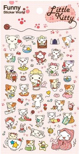 Little Cat Gel Sticker (2 Sheets) - (Funny Sticker World)