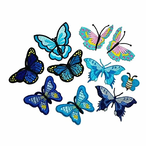 10 Piece Embroidery Iron On Appliques Blue Butterfly Motifs Craft Sewing Embroidery (Iron On Patches Appliques)
