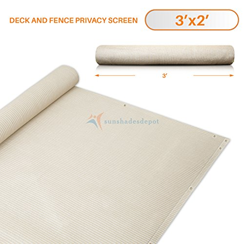 3 Rail Fence (3' x 2' Beige Residential Commercial Privacy Deck Fence Screen 160 GSM Weather Resistant Outdoor Protection Fencing Net for Balcony Verandah Porch Patio Pool Backyard Rails)