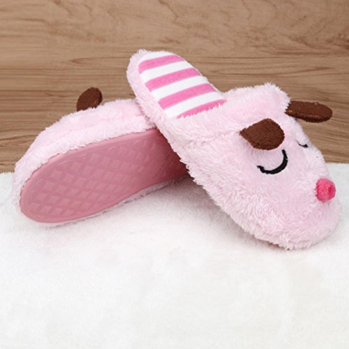 Clode® Couple Slippers, Mens Womens Winter Lovely Dog Warm Soft Plush Antiskid Indoor Couple Home Slippers Pink (Womens)