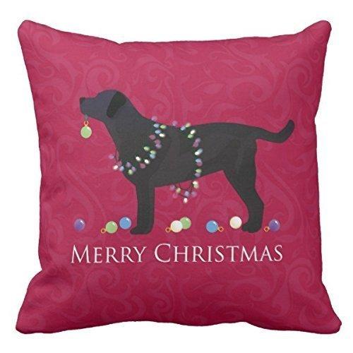 Black Lab Merry Christmas Design Throw Pillowcase