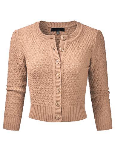 (EIMIN Women's Crewneck Button Down 3/4 Sleeve Knit Crop Cardigan Sweater TAN S )