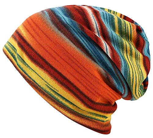 (Qunson Women's Soft Rainbow Striped Slouchy Cap Beanie Skull Hat)