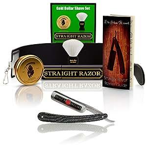 "~Shave Ready~ Shaving Straight Razor 6/8"" GD w/Box 208 Gold Dollar Straight Razor, The Blades Grim Soap, Synthetic Shaving Brush, GB Buckingham Strop - Complete Straight Razor Set"
