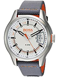 HUGO BOSS Mens HONG KONG SPORT Quartz Stainless Steel and Nylon Casual Watch, Color:Grey (Model: 1550015)