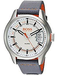 Men's 'HONG KONG SPORT' Quartz Stainless Steel and Nylon Casual Watch, Color:Grey (Model: 1550015)