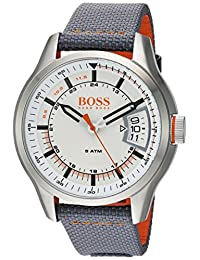 BOSS Orange Men's 'HONG KONG SPORT' Quartz Stainless Steel and Nylon Casual Watch, Color:Grey (Model: 1550015)