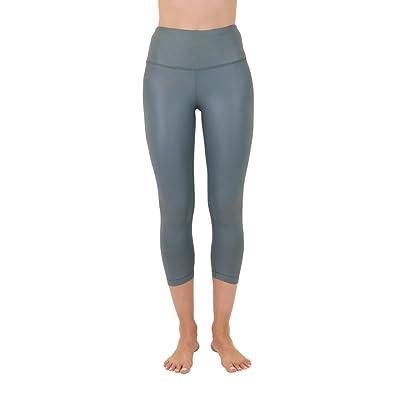 90 Degree By Reflex High Waist Disco Pants - Shiny Hi-Rise Capri Leggings (X-Small, English IVY)