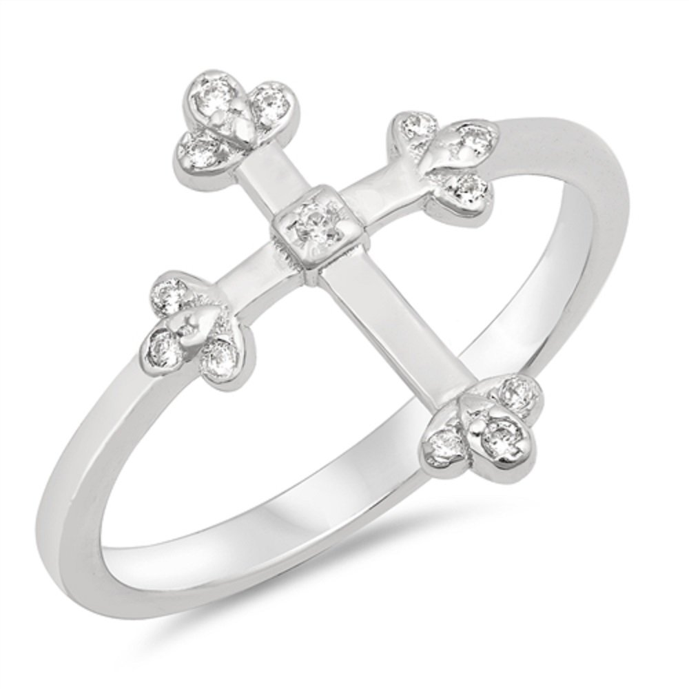 CloseoutWarehouse Clear Cubic Zirconia Cross Ring Sterling Silver Size 7