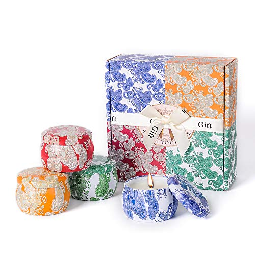 (GOBOSIN Scented Candles Gift Set Lavender,Violet,Cider,Spring Fresh Natural Soy Wax with Portable Travel Tin Candles Use for Aromatherapy Stress Relax, Home Decor, Yoga Meditation Reiki, Pack of 4)
