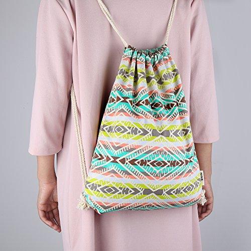 Farway Tasche mit Kordelzug, gemustert, aus Leinen, für Strand/Sport/Reise/Einkaufen, Unisex pattern1G