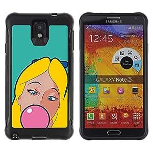 Suave TPU GEL Carcasa Funda Silicona Blando Estuche Caso de protección (para) Samsung Note 3 / CECELL Phone case / / Chewing Gum Bubble Pink Blonde Girl Woman /