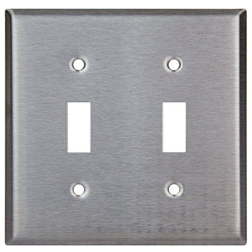 (Enerlites 7712 Toggle Switch Stainless Steel Wall Plate 2-Gang, Standard Size, 430 Grade Alloy Metal Plate Corrosive Resistant Cover for Rotary Dimmers Lights)