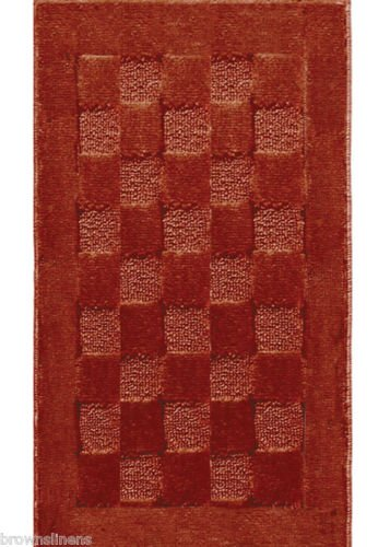 The Pecan Man RUSSET RECTANGLE CHECKBOARD SCULPTURED AREA RUG ,1Pcs 19x31
