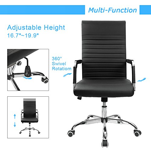 Furmax Ribbed Office Desk Chair Mid-Back Leather Executive Conference Task Chair Adjustable Swivel Chair with Arms (Black) by Furmax (Image #4)