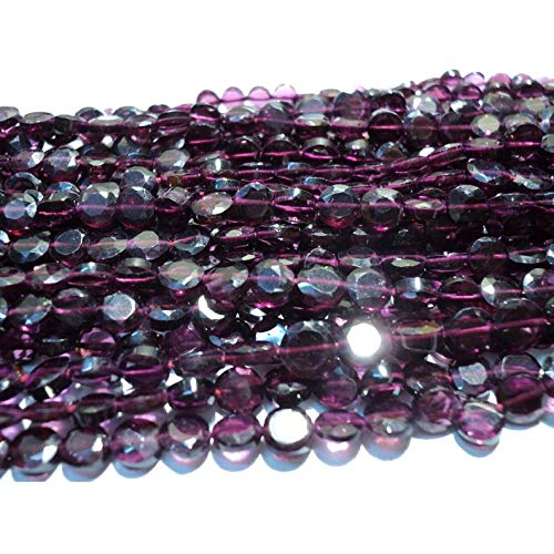 14 inch Strand of Natural Garnet  5 mm Coin Faceted Beads for Jewelry Making - Garnet lot - Garnet Faceted Coin ronedelles - 5mm Each - 14 inch Strand