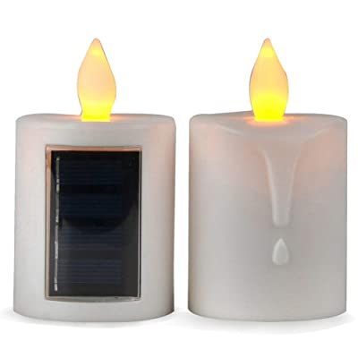 TELOSMA 2 PCS Solar Powered LED Candle Light Flameless Rechargeable for Window Outdoor Yard Lamp: Home & Kitchen