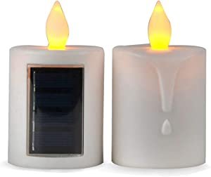 2 PCS Solar Powered LED Candle Light Flameless Rechargeable for Window Outdoor Yard Lamp