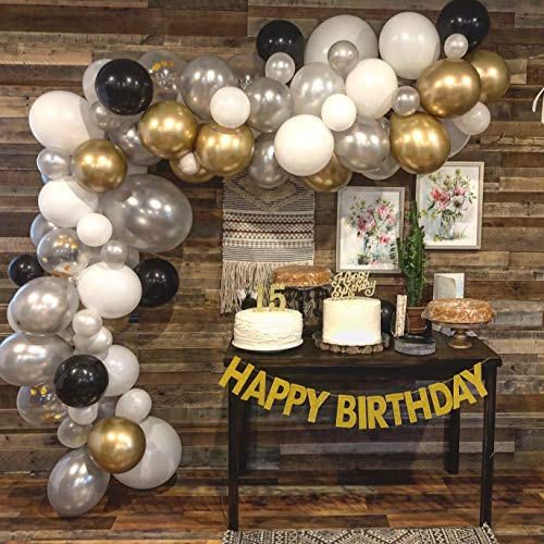 Balloons Garland with Gold Chrome, White, Black, Confetti Balloons - Balloon Arch with Pump, Glue Dots & Wall Hooks - Decorating Strip for Wedding Anniversary, Baby Shower, Birthday Party Decorations