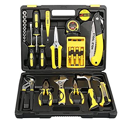 DOWELL 30 Pieces Homeowner Tool Set , Home Repair Hand Tool Kit with Plastic Tool box Storage Case