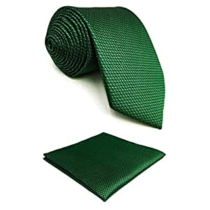 S&W SHLAX&WING Solid Color Green Ties for Men Business Necktie Set Fashion