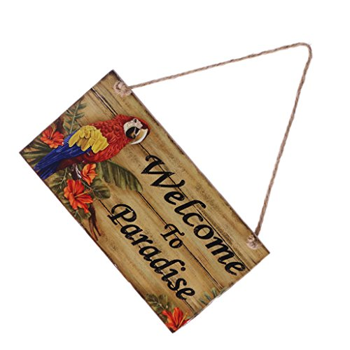 Jili Online Vintage Welcome to Paradise/Paradise Found Wooden Plaque Wall Door Hanging Decoration with Jute Twine - Welcome to Paradise