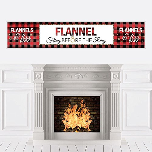 (Big Dot of Happiness Flannel Fling Before The Ring - Buffalo Plaid Bachelorette Party Decorations Party Banner)